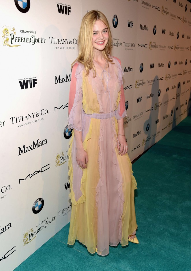 Elle Fanning is a pastel delight at the 8th Annual Women in Film Pre-Oscar Cocktail Party in LA