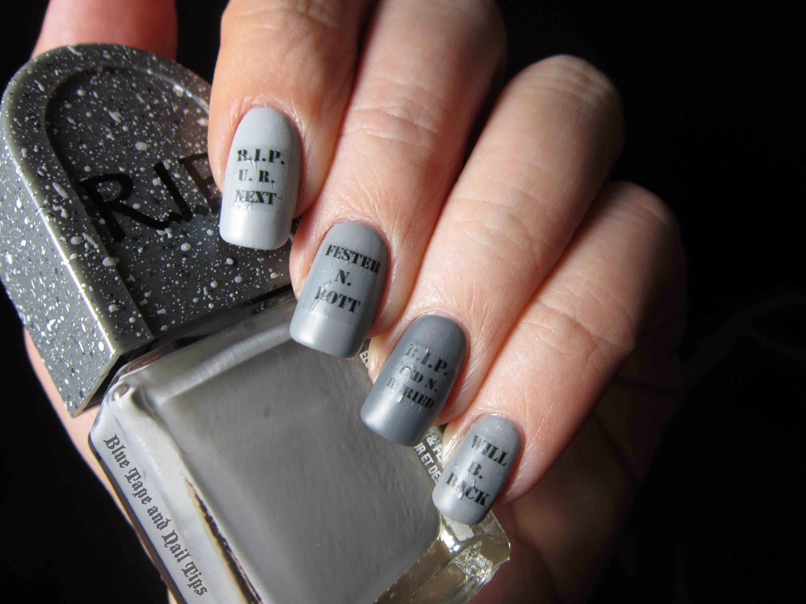 Blue Tape And Nail Tips Easy Tombstone Halloween Nail Art