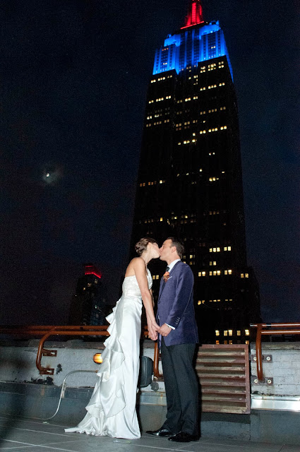 A Model Wedding, Rooftop Kiss with moon and Empire State Building lit up