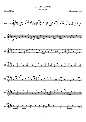Tubepartitura Partitura para Clarinete de la canción In the Mood de Glenn Miller partitura de Música Jazz