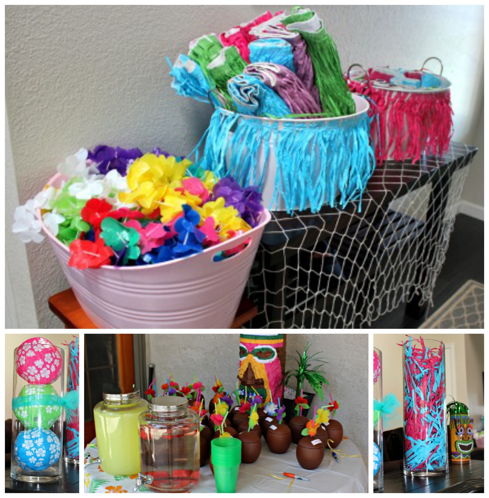 Hawaiian Theme Party Decoration Ideas Part - 28: For Our Luau Party Decor, We Trimmed Grass Skirts And Wrapped Them Around  The Buckets. We Hung Fish Nets Around The House And Placed Mini Beach Balls  In ...