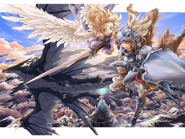 Blonde Hair Female Girl Anime Armor Knight Shield Wings Sword Dragon Sky Clouds anime hd wallpaper desktop pc wallpaper a84