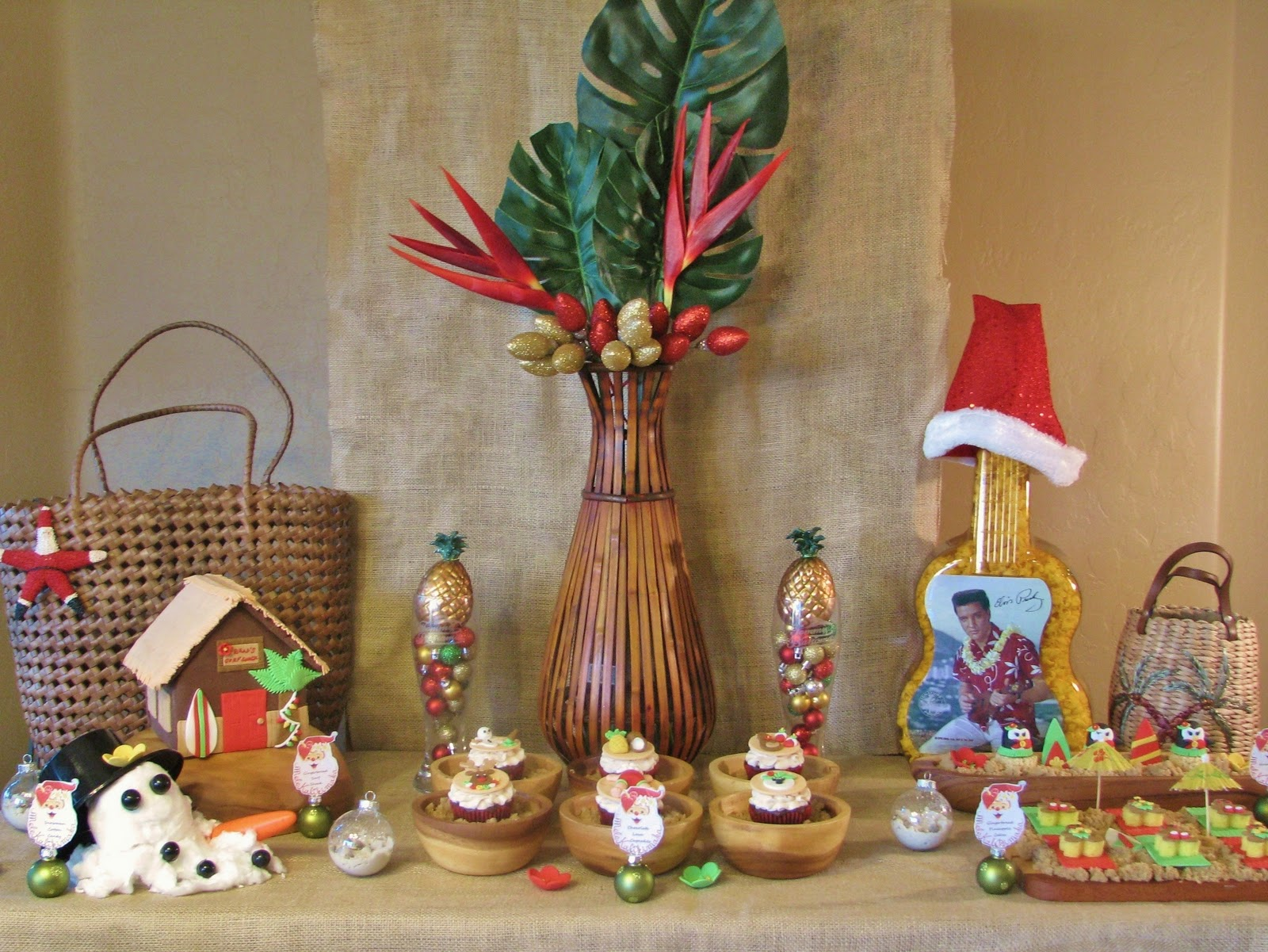 i focused on tropical hawaiian inspired decor by pairing traditional christmas colors of red and green and some yellowsgolds for a pop - Hawaiian Merry Christmas Song