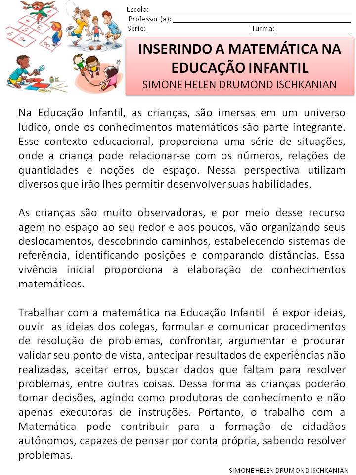 Amado Simone Helen Drumond : INSERINDO A MATEMÁTICA NA EDUCAÇÃO INFANTIL  WS06