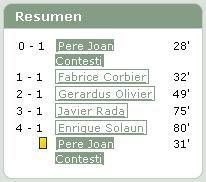 Resumen: 0-1 (28') Pere Joan Contesti. 1-1 (32') Fabrice Corbier. 2-1 (49') Gerardus Olivier. 3-1 (75') Javier Rada. 4-1 (80') Enrique Solaun