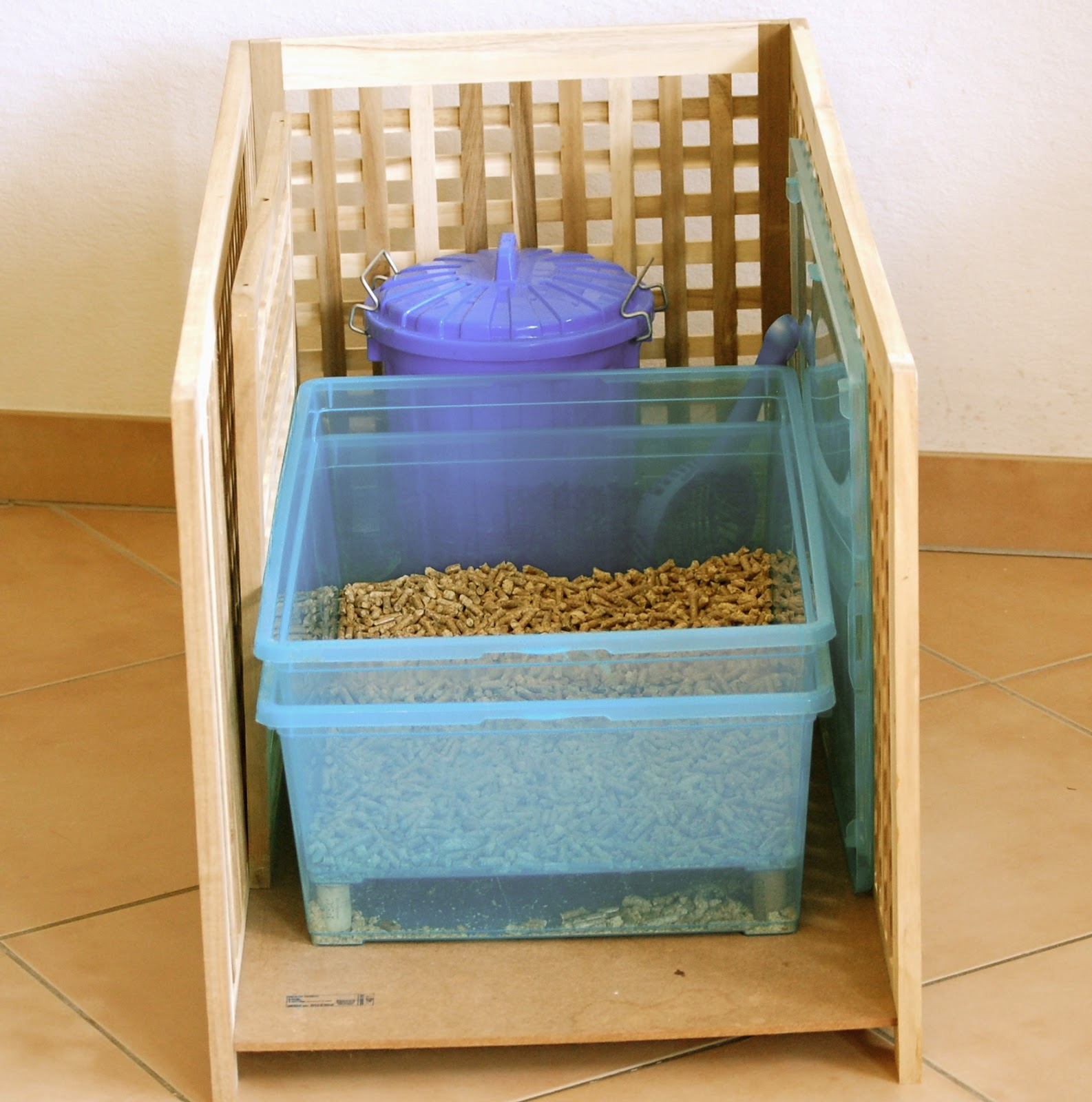 DIY Litter Box, Wood burning pellets