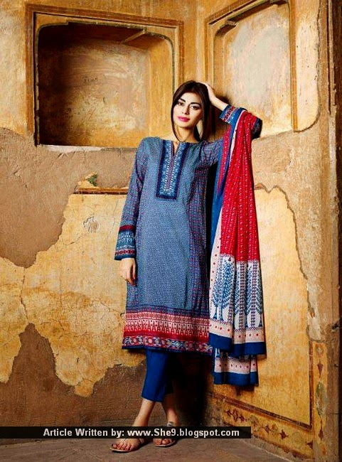 Khaadi Printed Dresses with Embroidered Neckline Panels