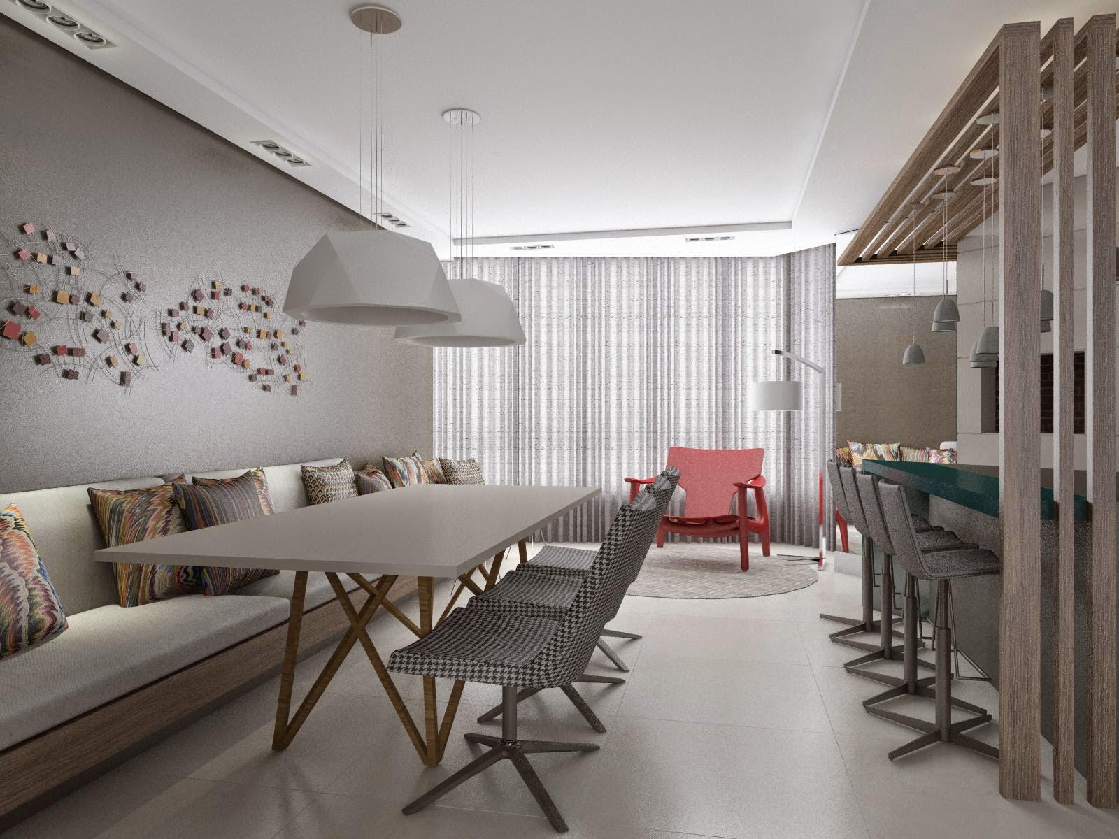 #5D4D45 Ilto Gerber: Projeto de Interior Sala de Estar / Jantar / Cozinha 1600x1200 px Projeto De Cozinha Com Sala De Jantar #2845 imagens