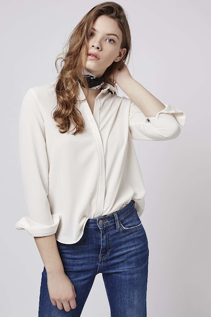 cream stitch shirt, topshop stitch shirt,