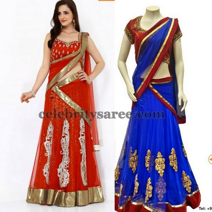 Floral Patches Colorful Half Sarees