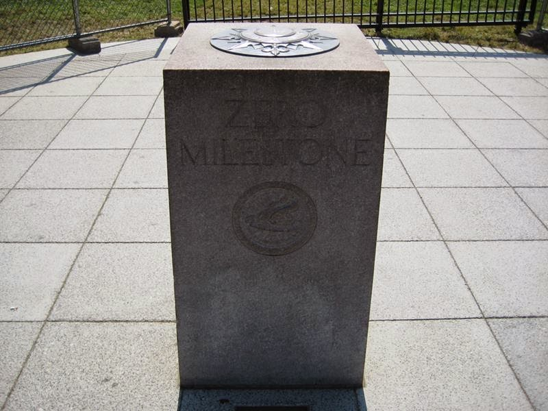 Zero Milestone in front of the White House. On the other side it says all distances to Washington, D.C. are measured from there.