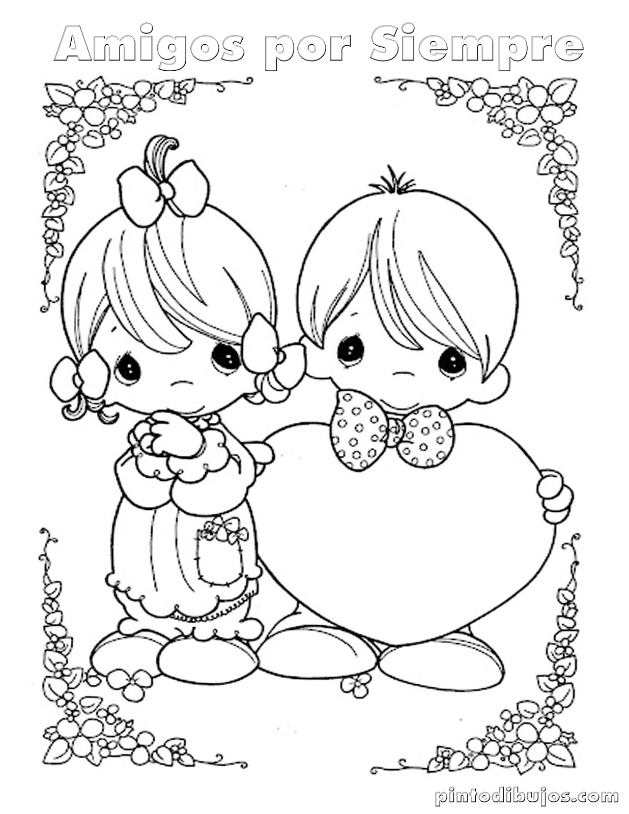 Dia del amor y la amistad amigos para colorear
