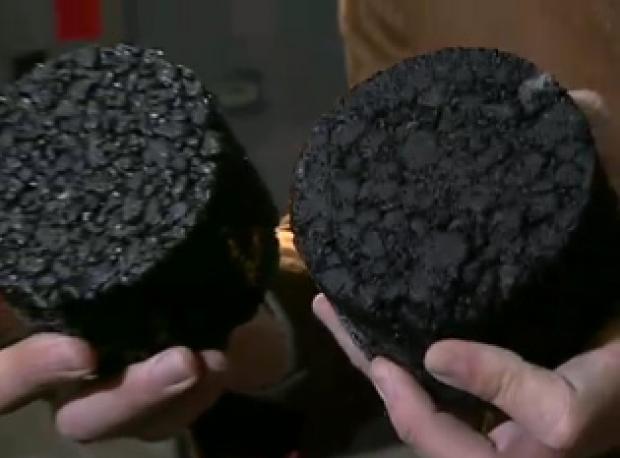 Núcleos, briquetas de asfalto
