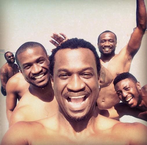 Photo: Bare-chested Okoye boys hit the beach in Dubai