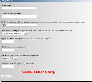 formulário de cadastro do website enquetes