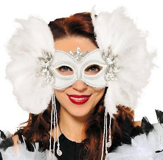 A unique white feather bridal masquerade mask.