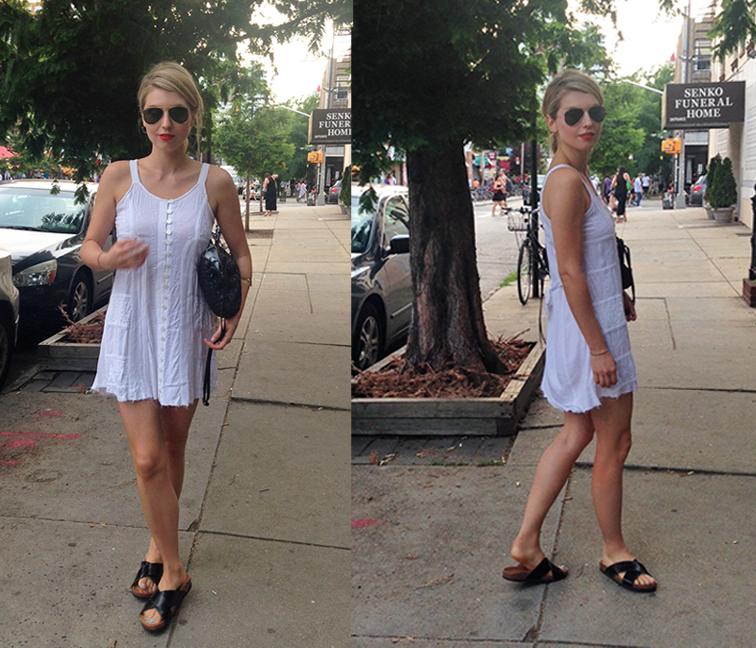 LWD Little white dress, summer essential, mini summer dress, Birkenstock H&M sandals, cork sandals, Brooklyn summer