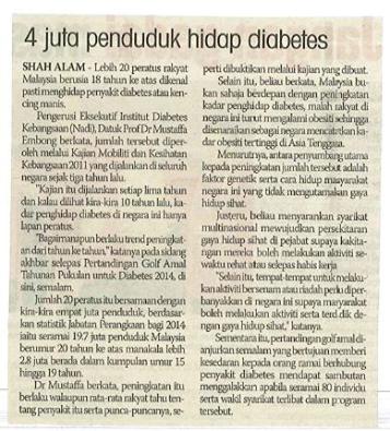 4 JUTA RAKYAT MALAYSIA BERUSIA 18 TAHUN ADALAH PENGHIDAP DIABETES