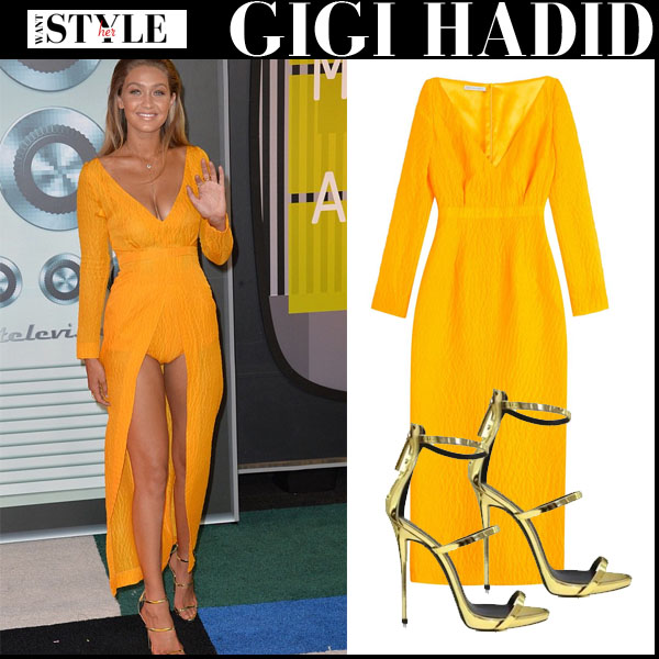 Gigi Hadid in bright yellow front slit emilia wickstead emma dress and gold giuseppe zanotti metallic sandals red carpet vma