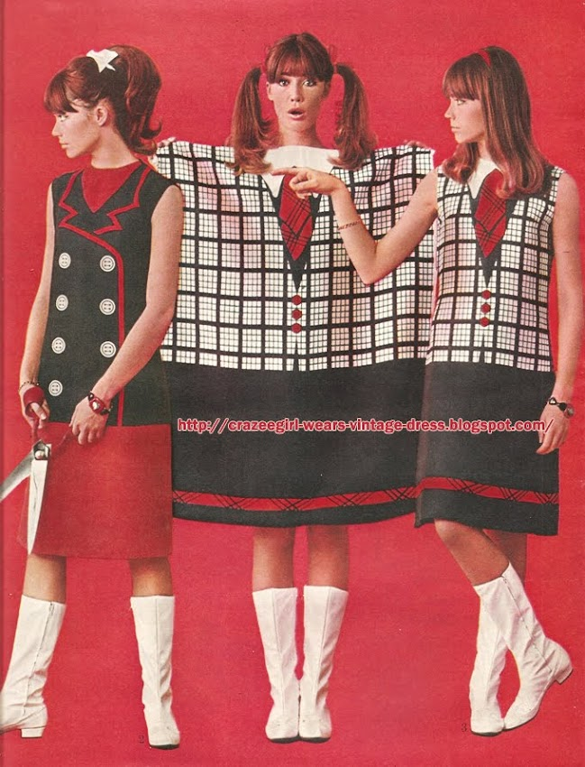 "La robe ""33 tours""  Francoise Hardy Adige dress lp record 60s 1960 1965 rose flower stripe plaid check"