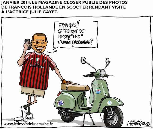 "January 2014. Berlusconi calls François Holland after ""Closer"" magazine published photos of the French President on a scooter visiting actress Julie Gayet. Berlusconi: ""François, what about going pro next year?"""