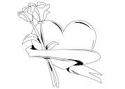 Corazón con rosas para colorear y pintar. Corazones