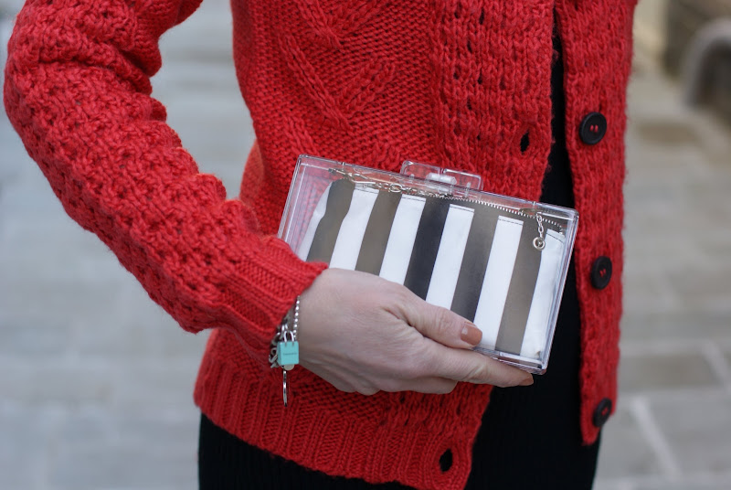 Fashion and Cookies, Zara perspex clutch, striped clutch, Tiffany bracelet