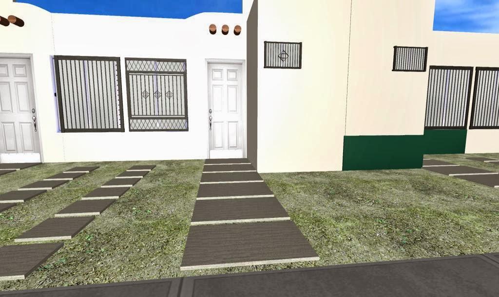 jardin pequeño fachada - foto base 3D