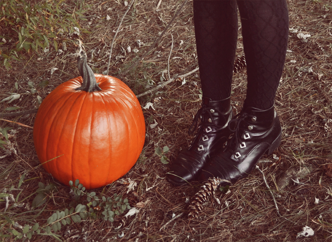 Black lace-up boots, black wool-blend tights