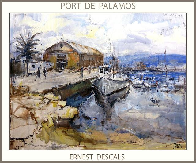 PALAMOS-PINTURA-PORT-PINTURAS-PUERTO-GIRONA-CATALUNYA-MARINAS-CUADROS-PINTOR-ERNEST DESCALS-