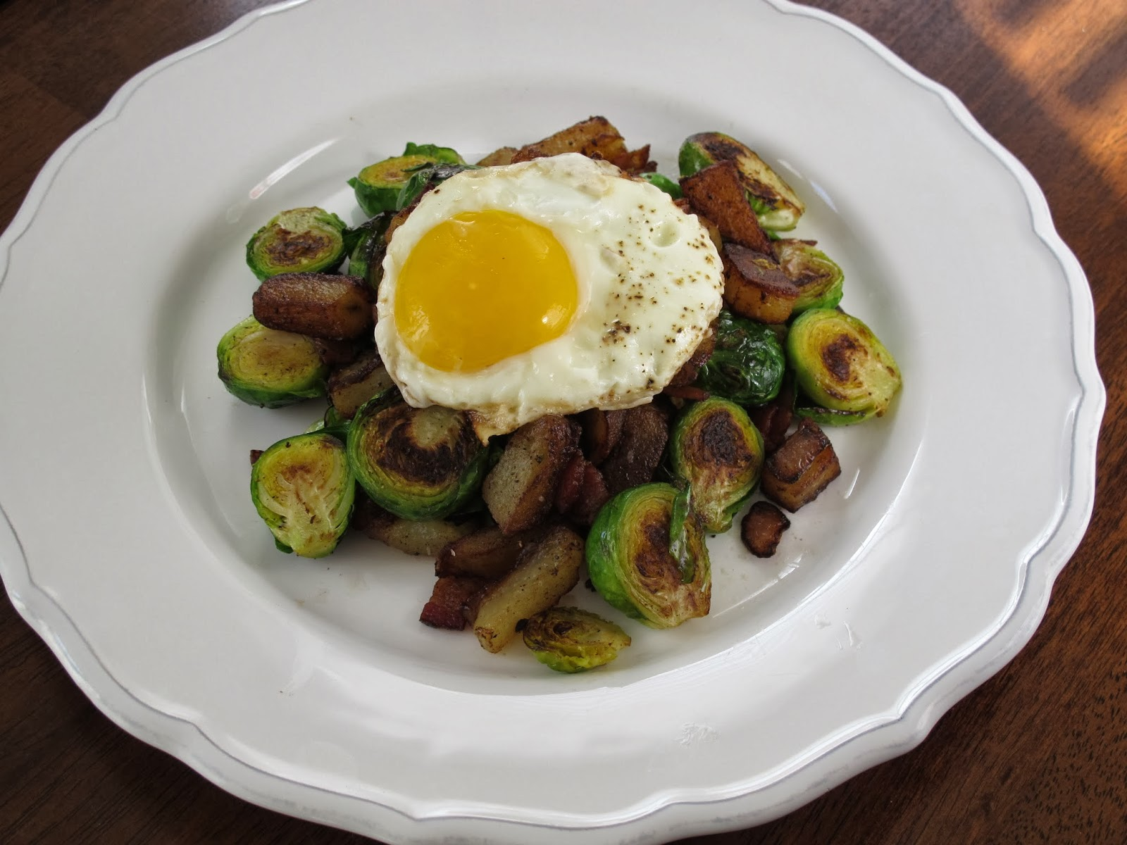 Bacon Brussels Sprout Hash with Fried Eggs
