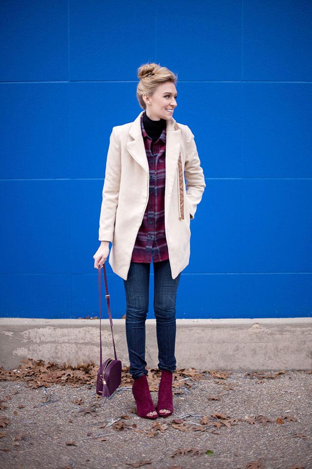 camel coat and plaid shirt