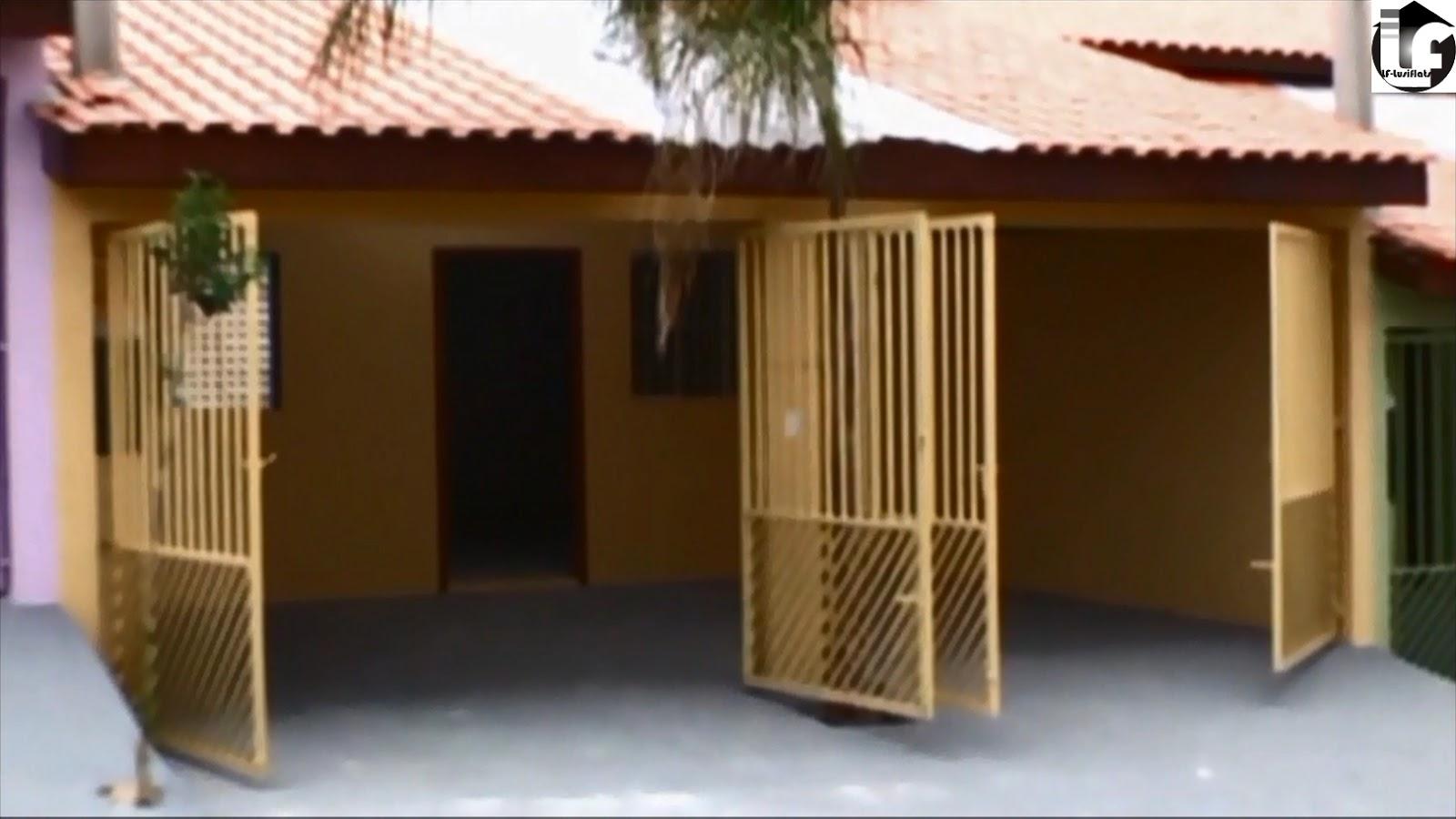 fachada ocre portões metal garagem 2 vagas #342210 1600 900