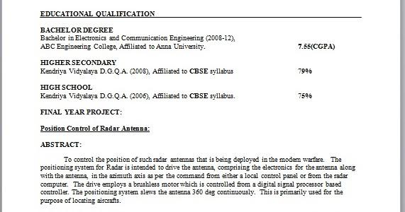 Electronics engineer resume sample for freshers
