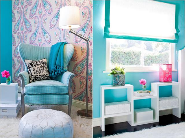 decoracao quarto azul turquesa e amarelo:Lorenna Guerra: Quarto decorado com cores