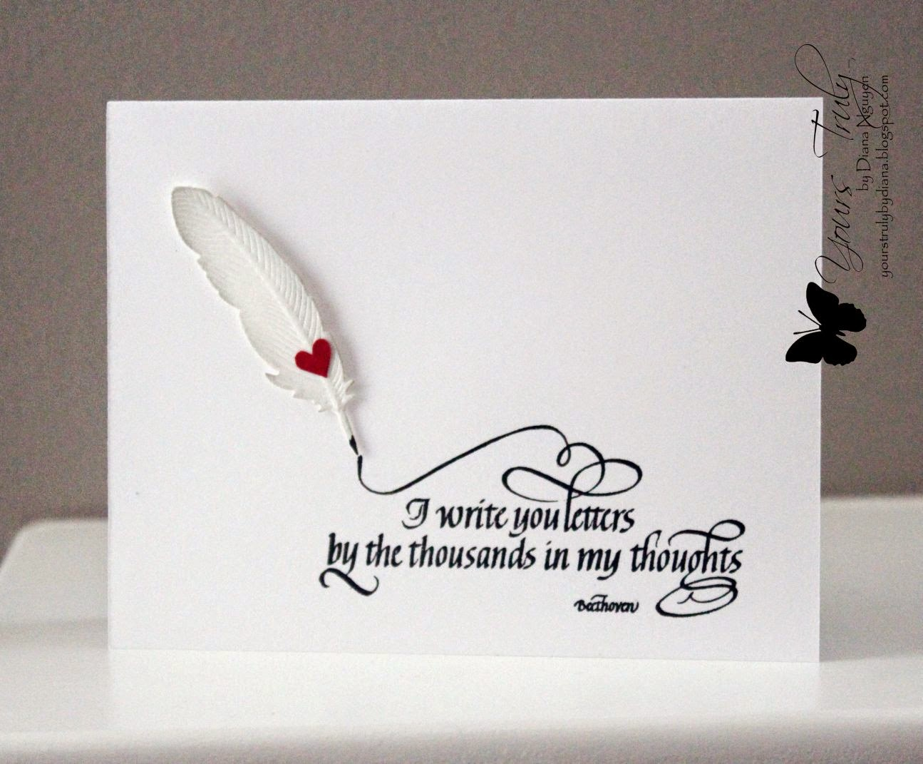 Diana Nguyen, Quietfire Designs, feather, card, calligraphy