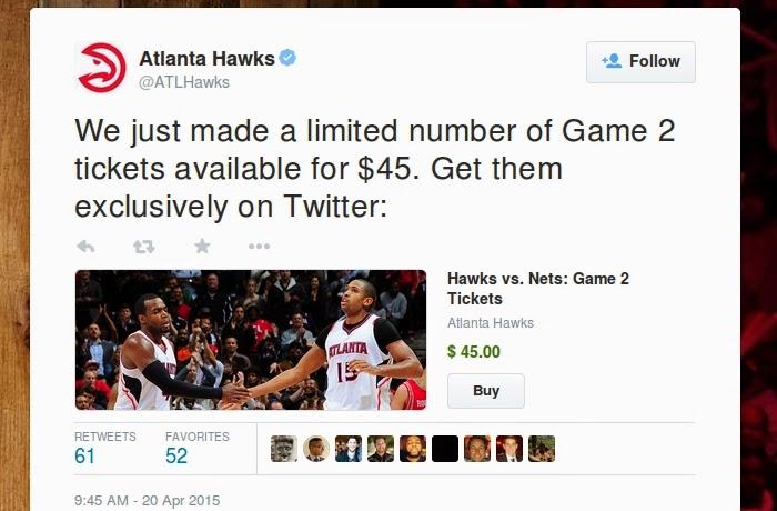 Atlanta Hawks vende entradas por Twitter