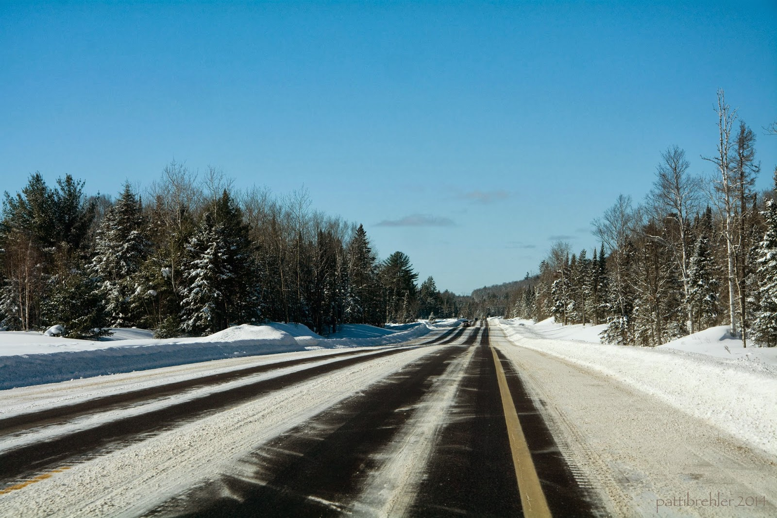 Under a deep blue sky, the view of a partially snow-covered road heading off into the distance. Pine and  hardwood trees line either side of the road.