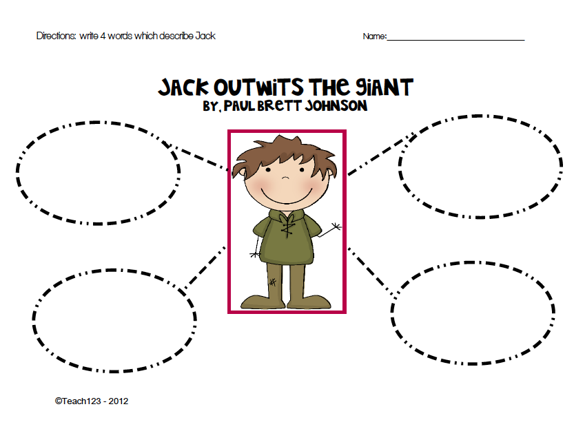 AMAZING CONTEST Jack in the Beanstalk Teach123 – Characterization Worksheet