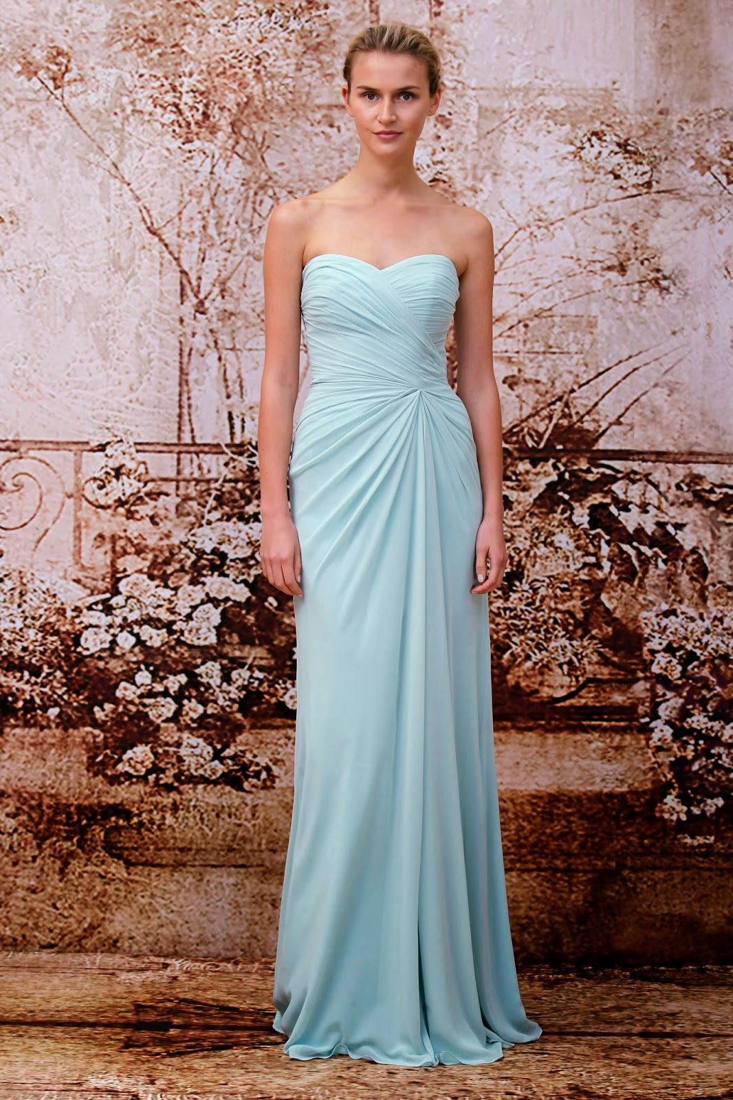 For the bride magazine monique lhuillier fall 2014 bridesmaids draping is key when looking for bridesmaid dresses to suit girls of all shapes and sizes this flattering style will make it easy to select a dress that all ombrellifo Images