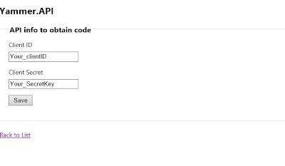 Yammer API first screen