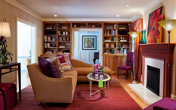 Desain Ruang Tamu Menarik Berwarna Ungu