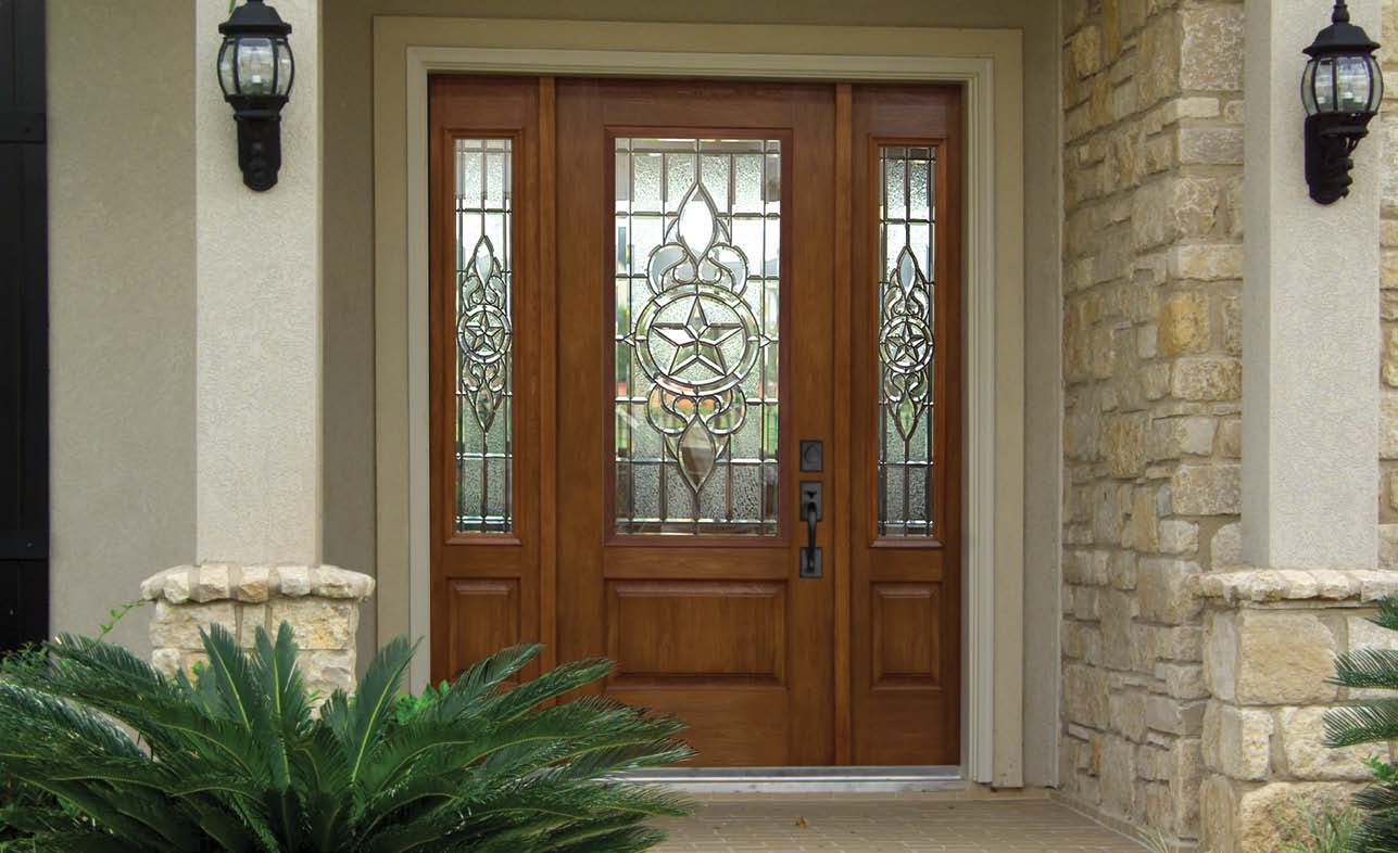 Us door and more inc make your entry door trendy with for Exterior front entry wood doors with glass