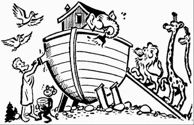 Noah and Ark Animals Coloring Page