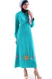 Naf1ah Gamis N62 - Toska [L] (Toko Jilbab dan Busana Muslimah Terbaru)
