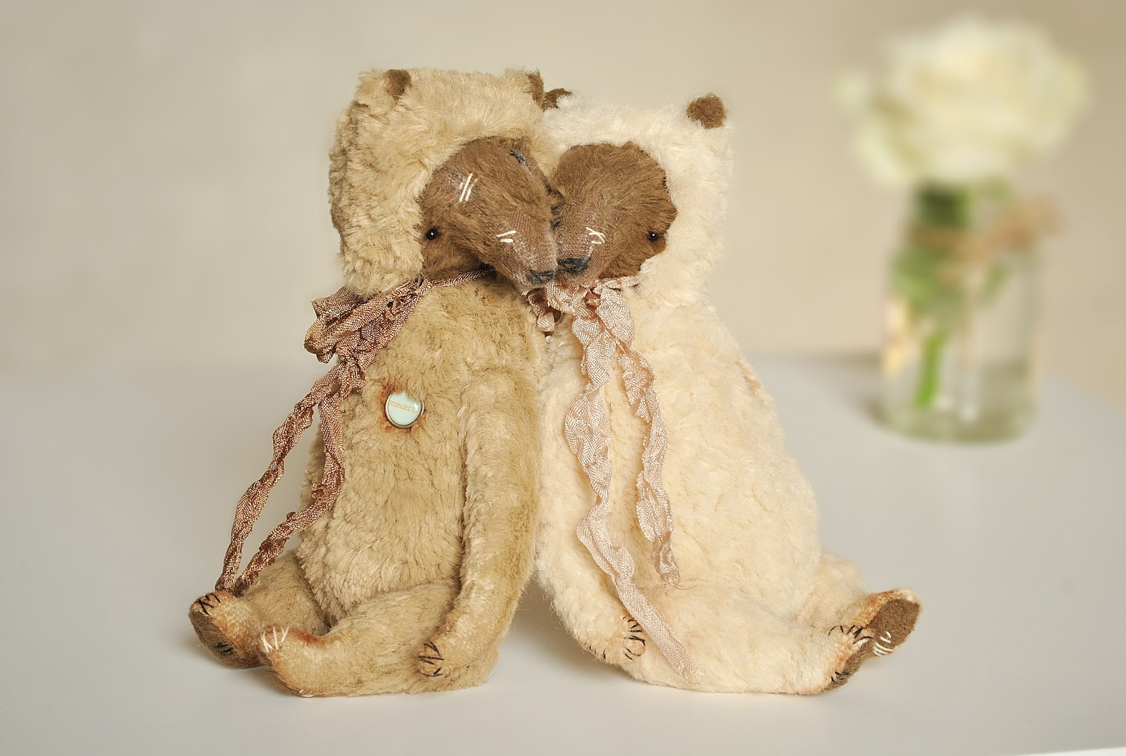 pair of vintage teddies