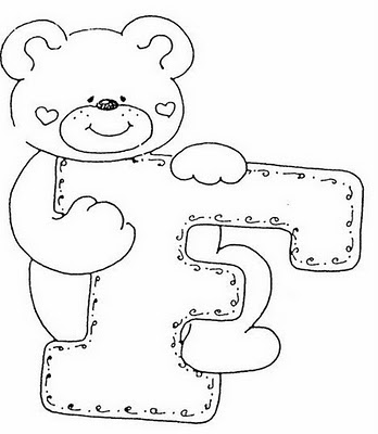 Abecederio de Osito corazon para colorear letra F ~ 4 Dibujo