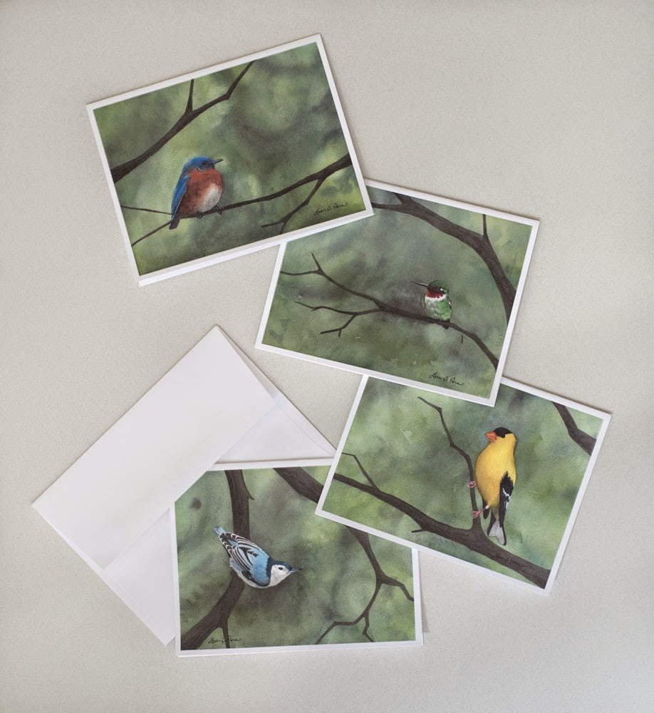 """Summer Birds"" note cards by Laura D. Poss"