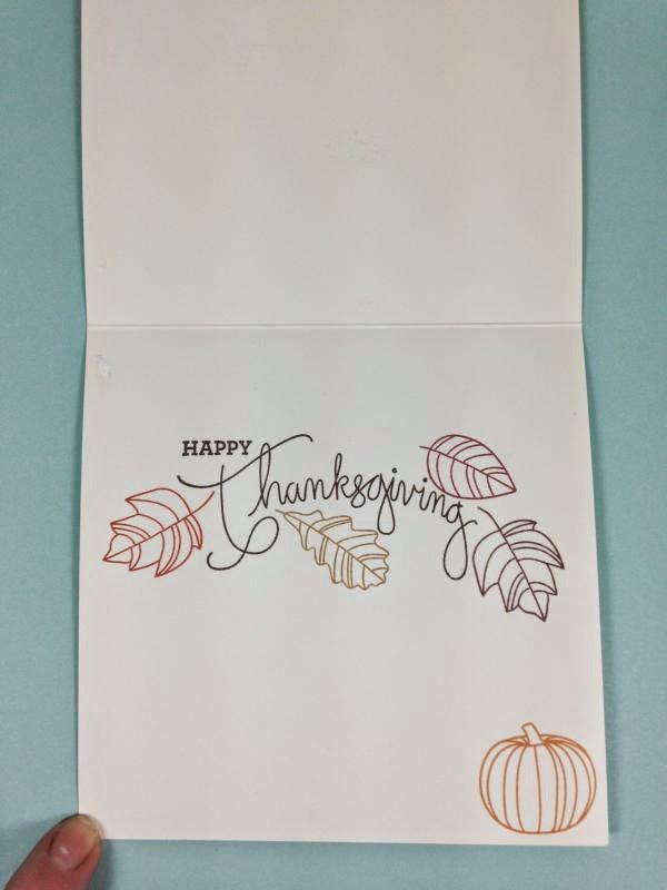 Close To My Heart Art Philosophy Cricut cartridge Always Grateful Pumpkin card inside