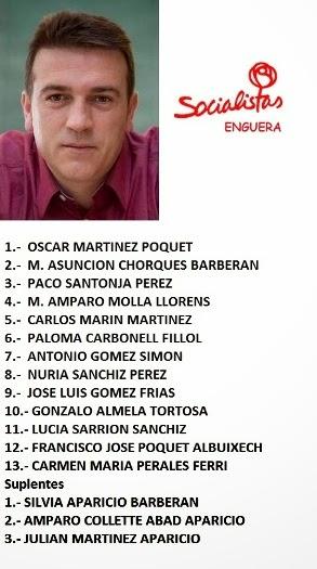 CANDIDATURA SOCIALISTA - ELECCIONES MUNICIPALES ENGUERA 2015.